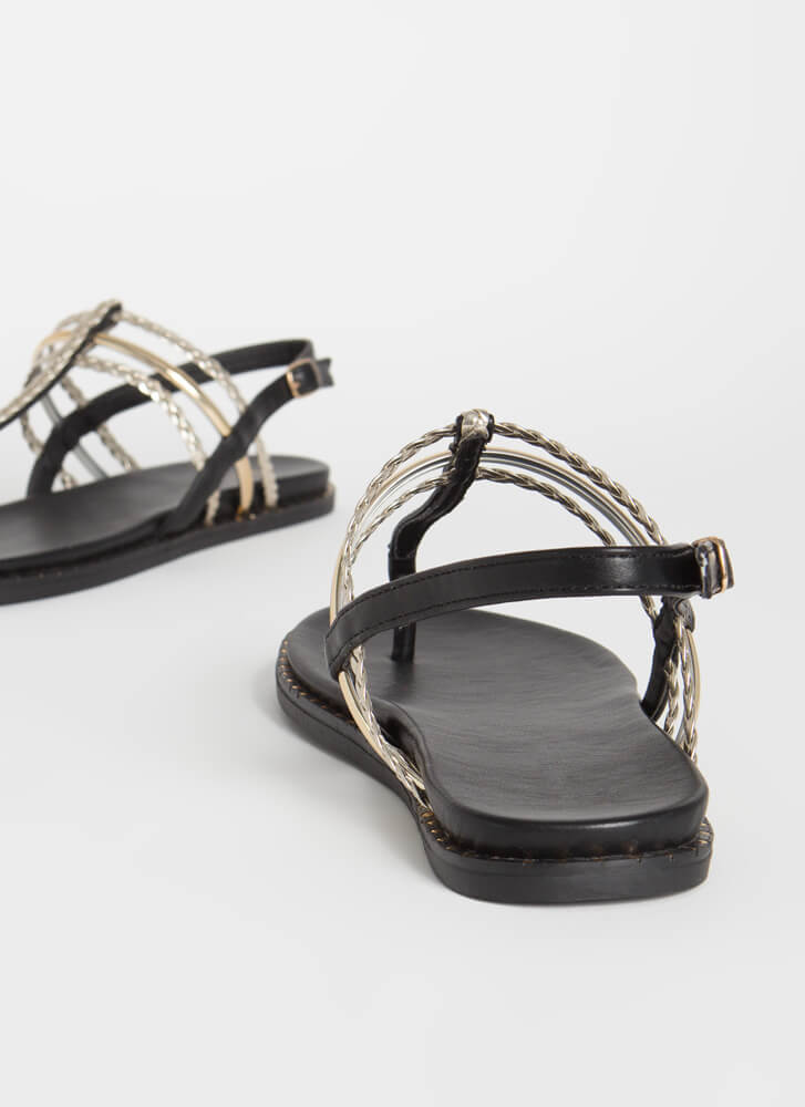 When In Rome Braided T-Strap Sandals GOLD