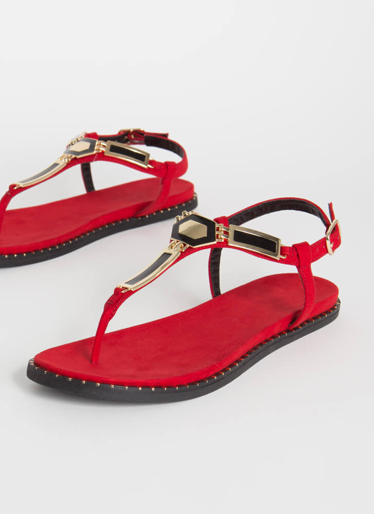 Art Deco Plate Charm T-Strap Sandals RED