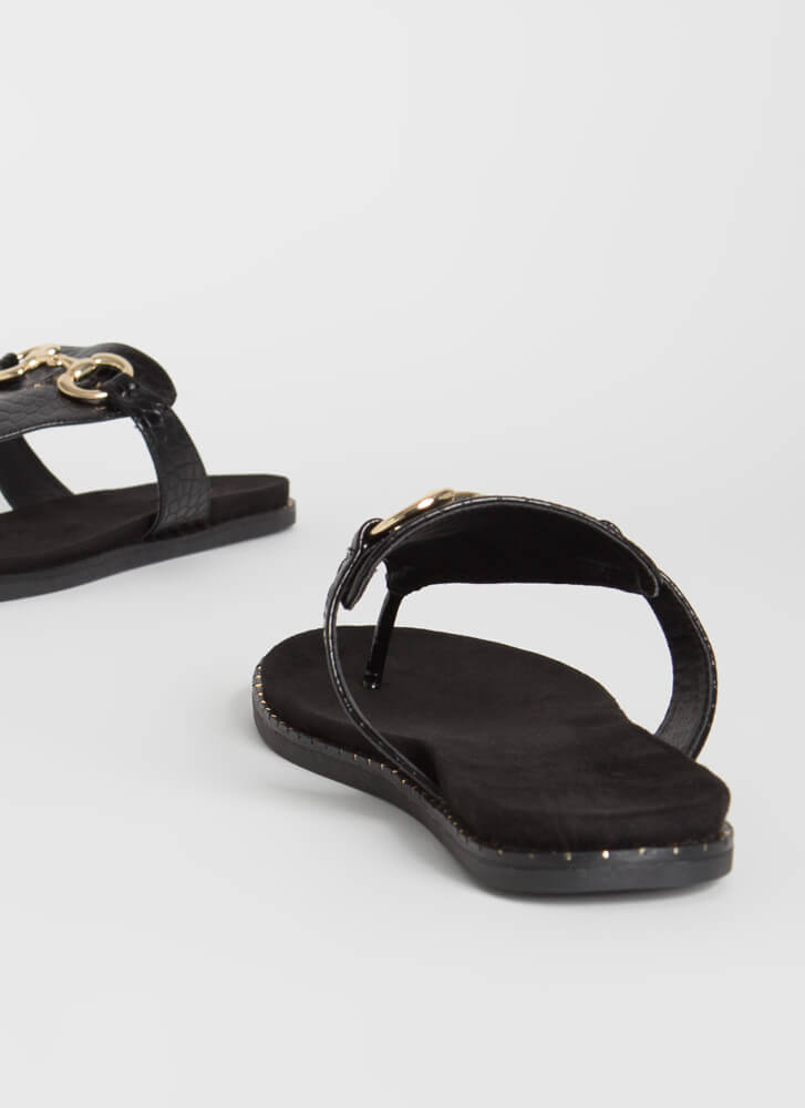 Cold-Blooded Reptile Thong Sandals BLACK