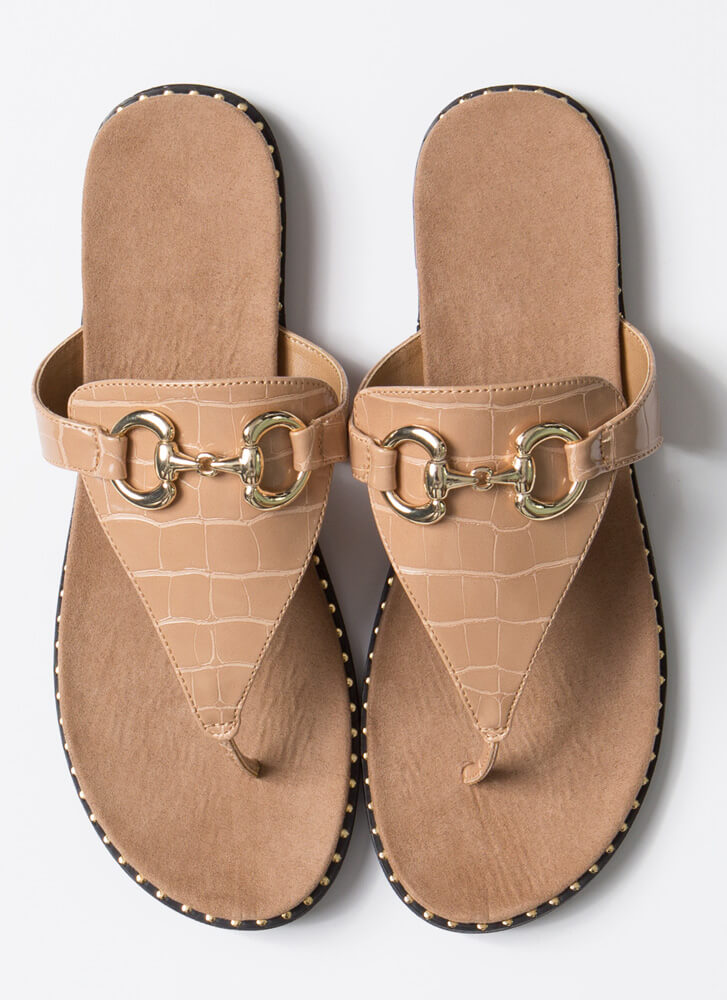 Cold-Blooded Reptile Thong Sandals TAUPE