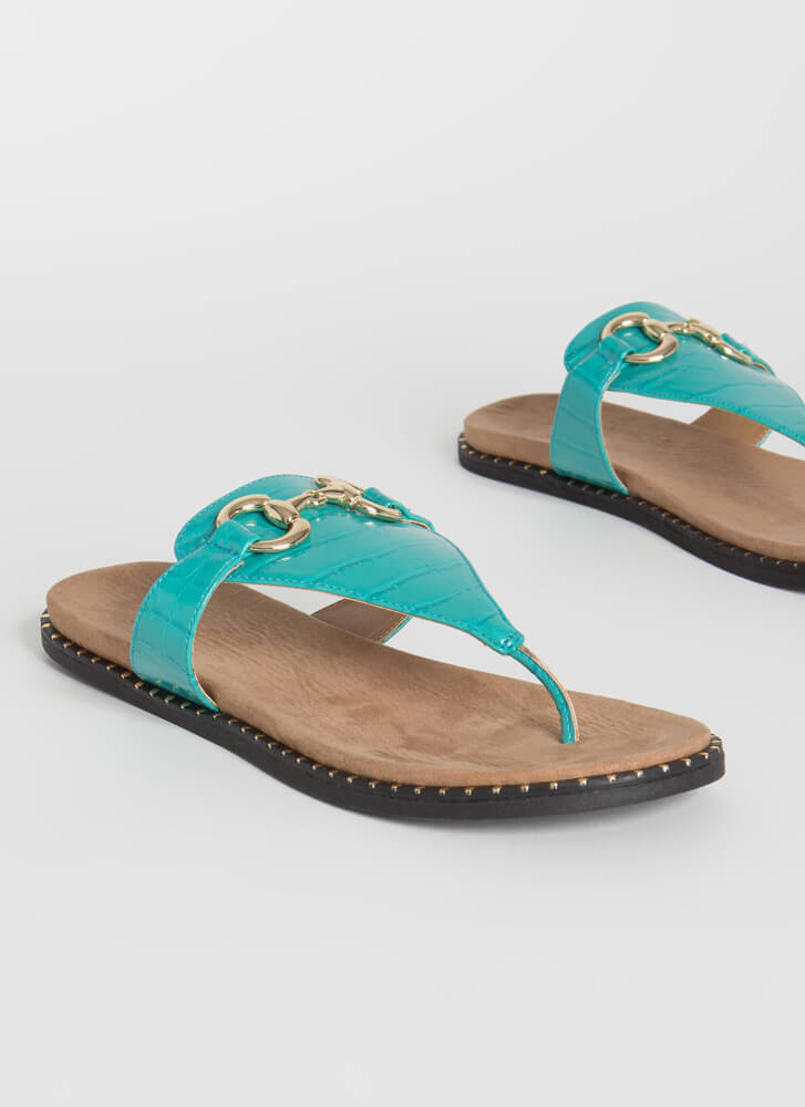 Cold-Blooded Reptile Thong Sandals TURQUOISE