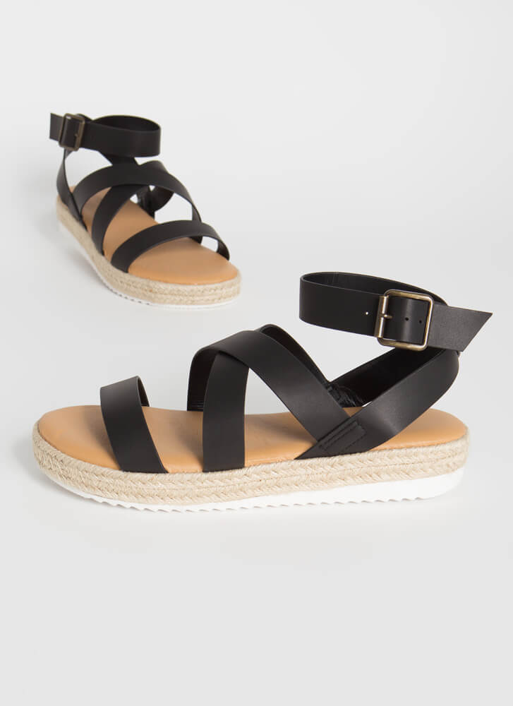 Beach Vacation Strappy Braided Sandals BLACK