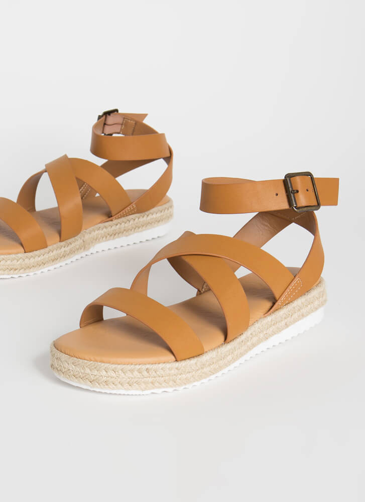 Beach Vacation Strappy Braided Sandals TAN