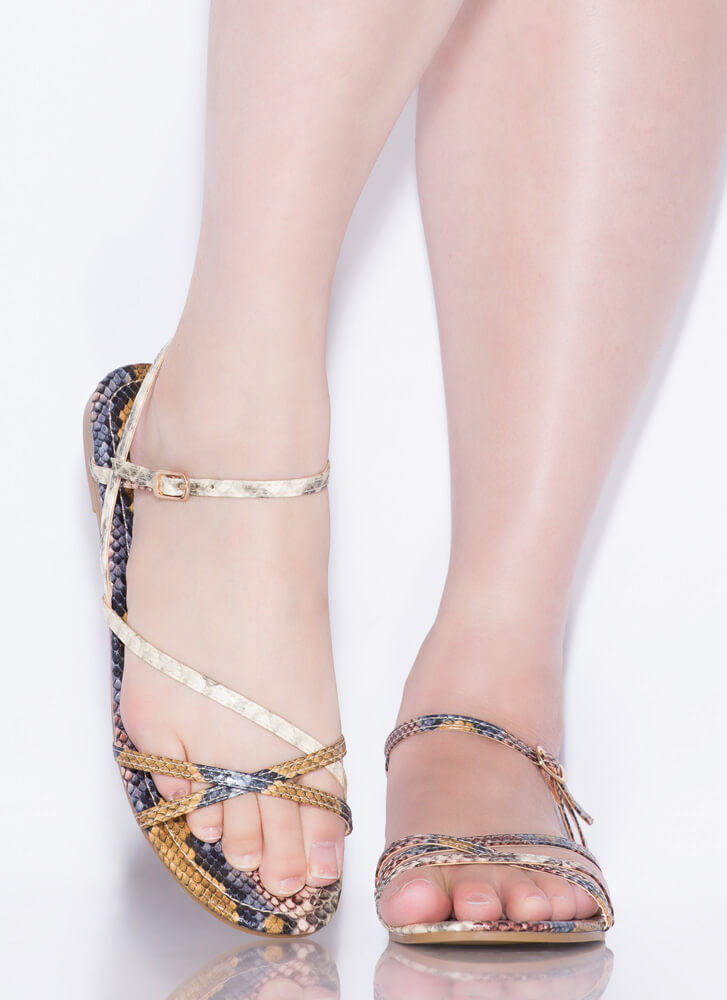 Strappy Summer Snake Print Sandals CAMEL