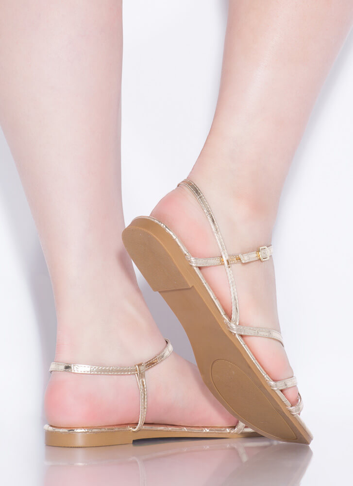 Strappy Summer Faux Crocodile Sandals GOLD