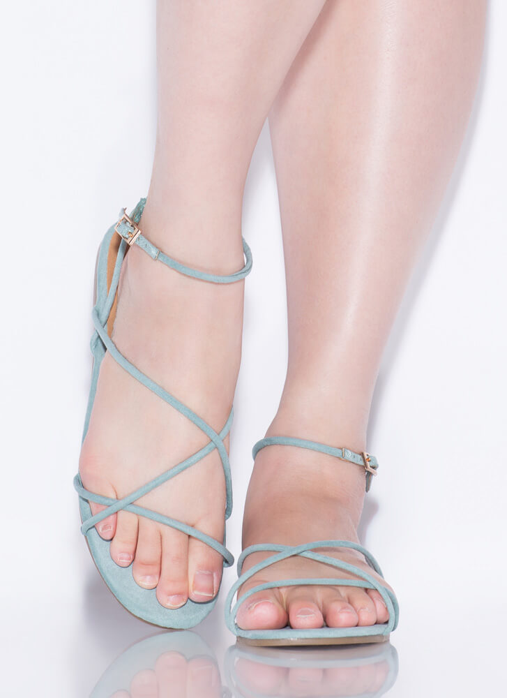 Strappy Faux Vegan Suede Sandals SAGE