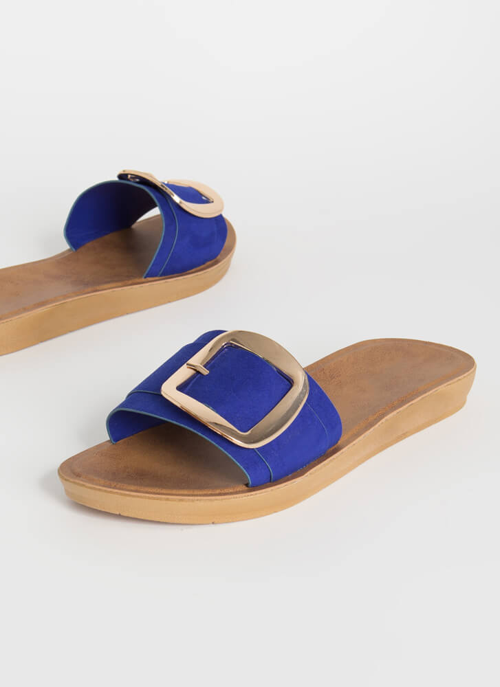Big Buckles Faux Suede Slide Sandals NEONBLUE