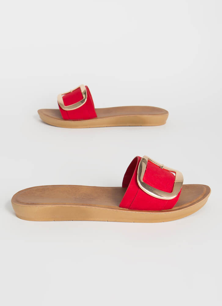 Big Buckles Faux Suede Slide Sandals RED