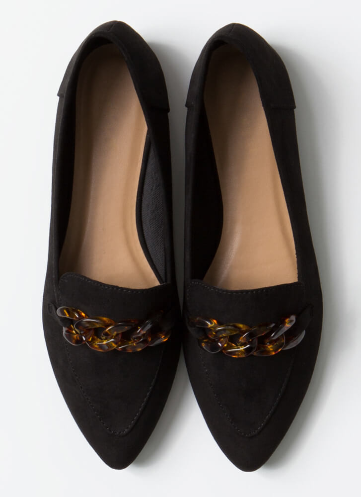 Too Chic Tortoise Chain Smoking Flats BLACK