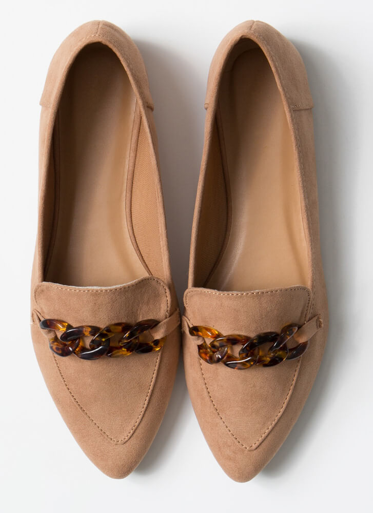 Too Chic Tortoise Chain Smoking Flats CAMEL