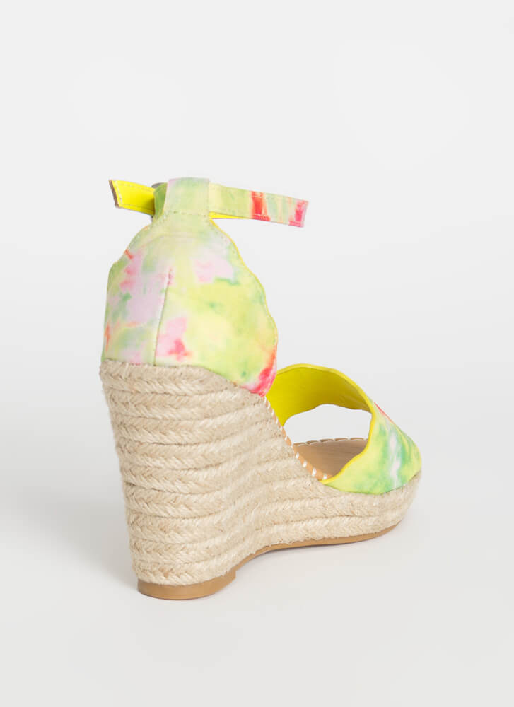 Ride The Wave Braided Tie-Dye Wedges YELLOW