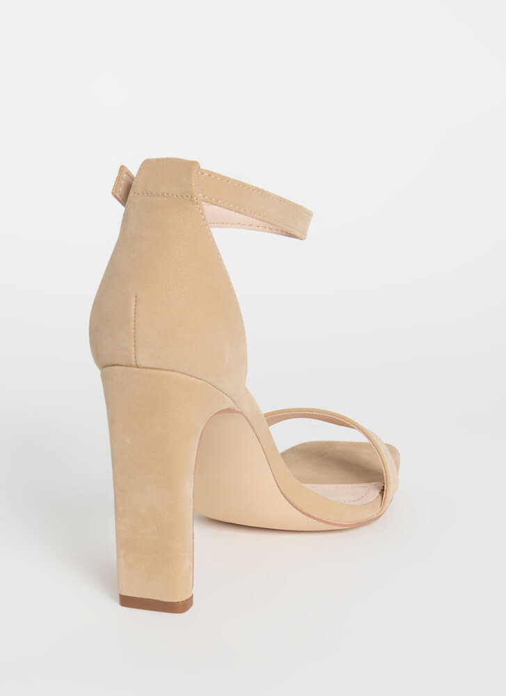 Back At The Bar Velvety Chunky Heels NUDE
