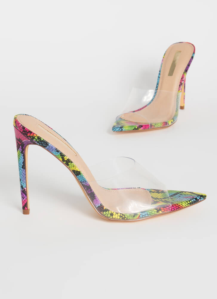 Clearly Sexy Snake Print Mule Heels MULTI
