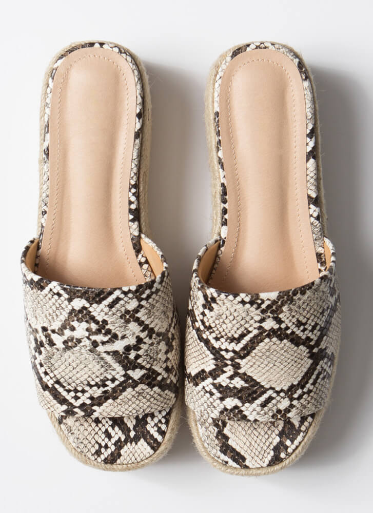 Slide Away Faux Snake Platform Sandals SNAKE