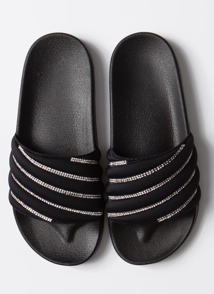 Gleam Team Jeweled Stripe Slide Sandals BLACK