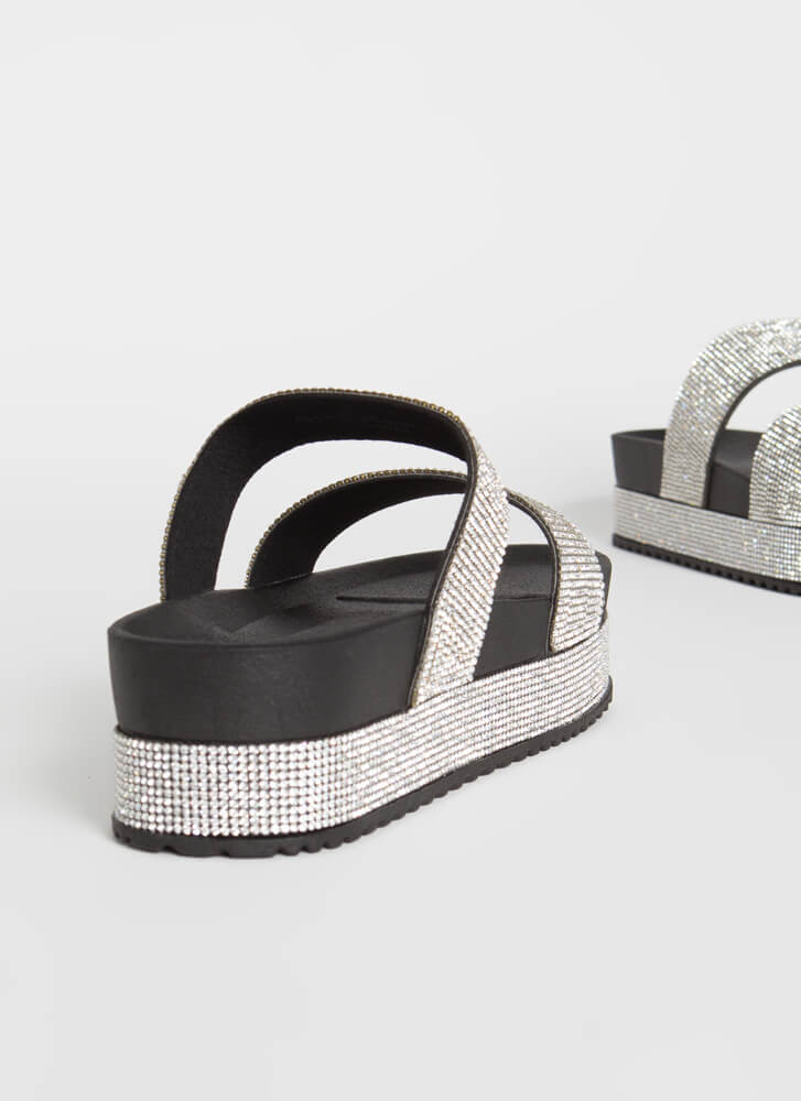 So Much Sparkle Jeweled Platform Slides BLACK