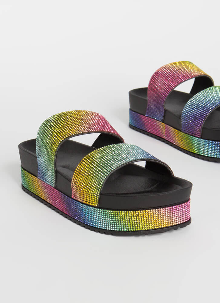 So Much Sparkle Jeweled Platform Slides MULTI