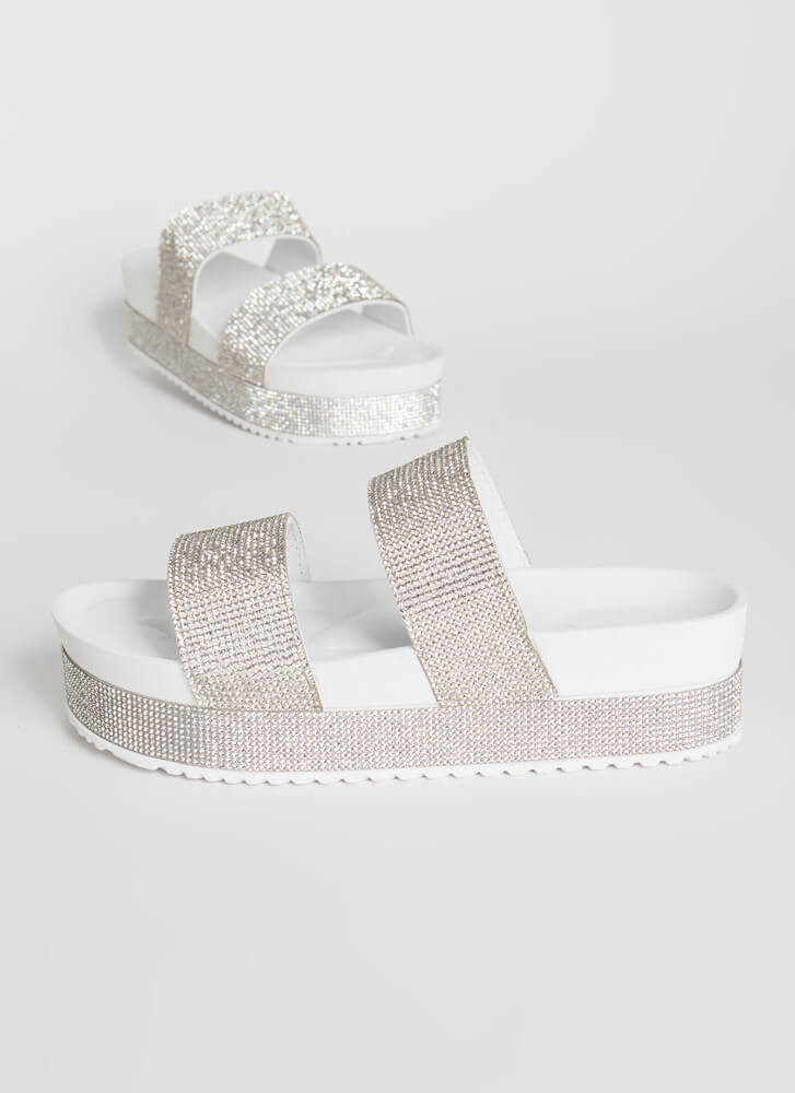 So Much Sparkle Jeweled Platform Slides WHITE
