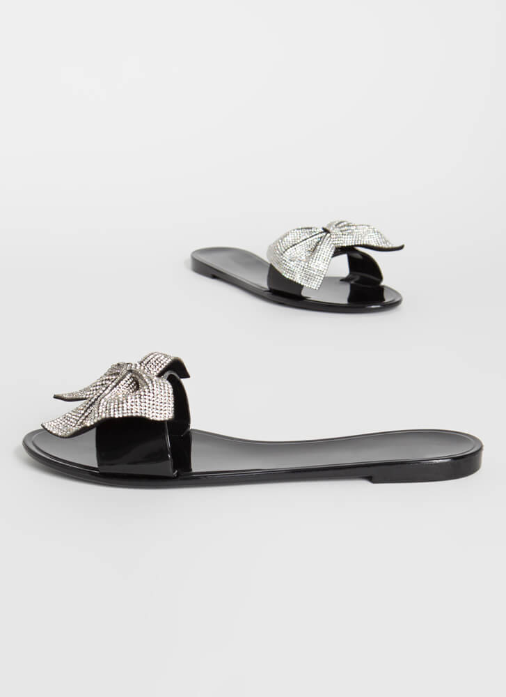 New Bow-Friend Jeweled Slide Sandals BLACK