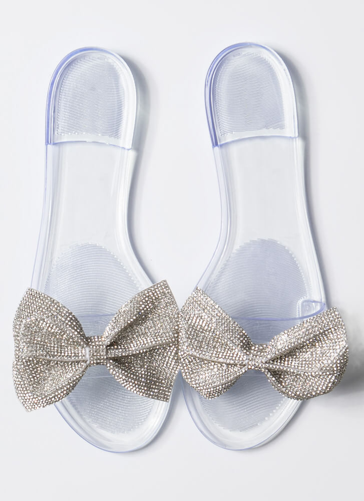 New Bow-Friend Jeweled Slide Sandals CLEAR