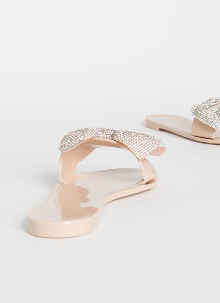 New Bow-Friend Jeweled Slide Sandals NUDE