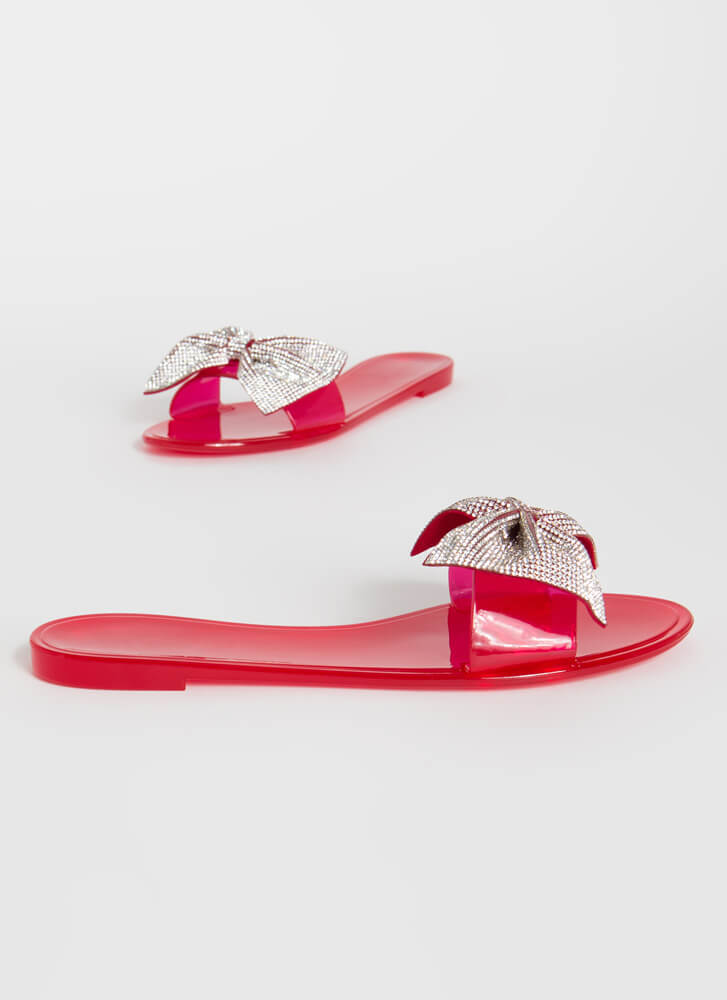 New Bow-Friend Jeweled Slide Sandals RED