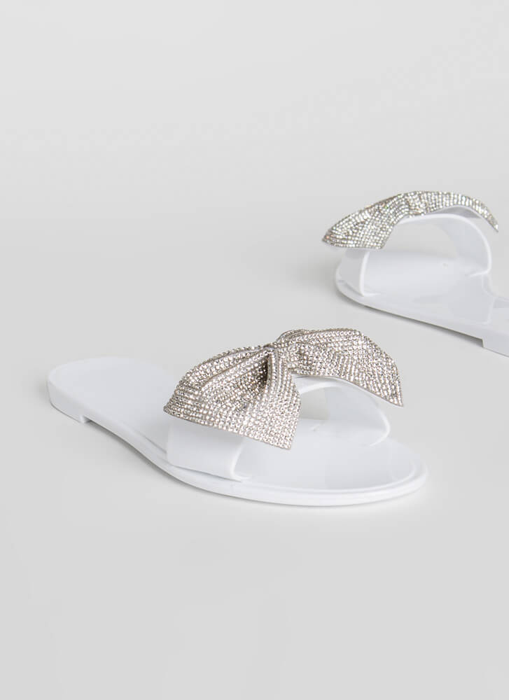 New Bow-Friend Jeweled Slide Sandals WHITE