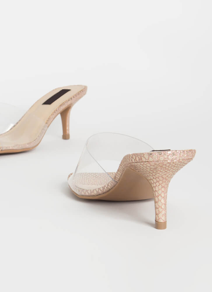 You're Being Pedi Clear Mule Heels ROSEGOLD