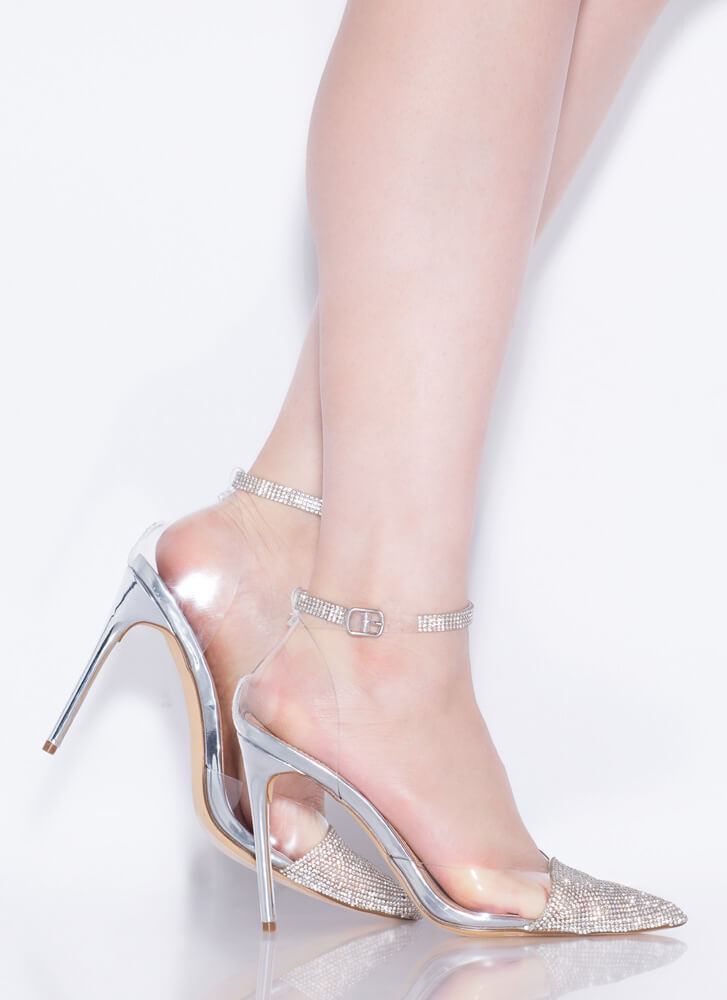Ultra Glam Pointy Jeweled Toe Heels SILVER