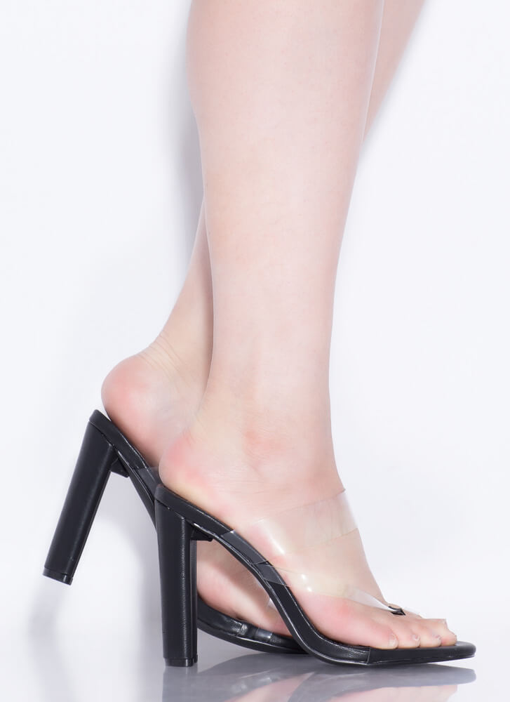 Fashion Forward Feet Clear Thong Heels BLACK