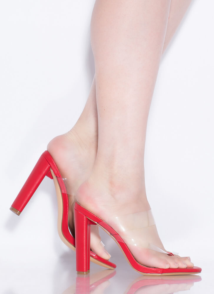 Fashion Forward Feet Clear Thong Heels RED