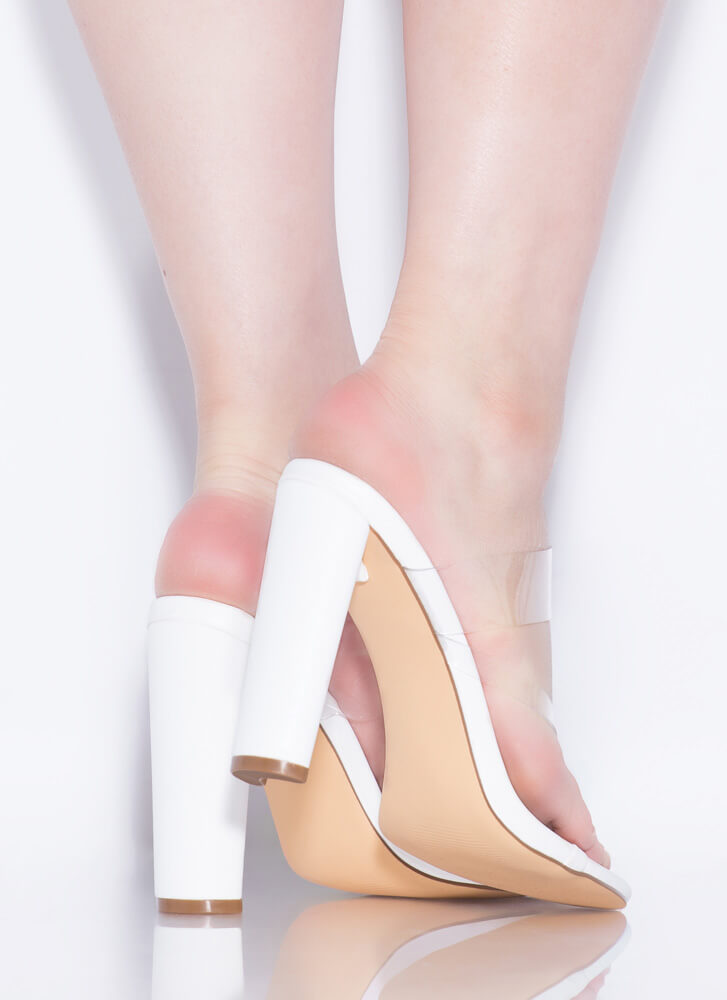 Fashion Forward Feet Clear Thong Heels WHITE