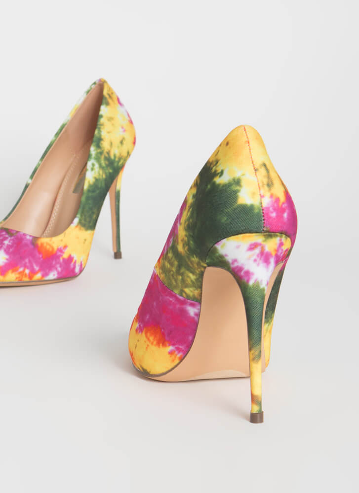Point It Out Tie-Dye Stiletto Pumps PINK