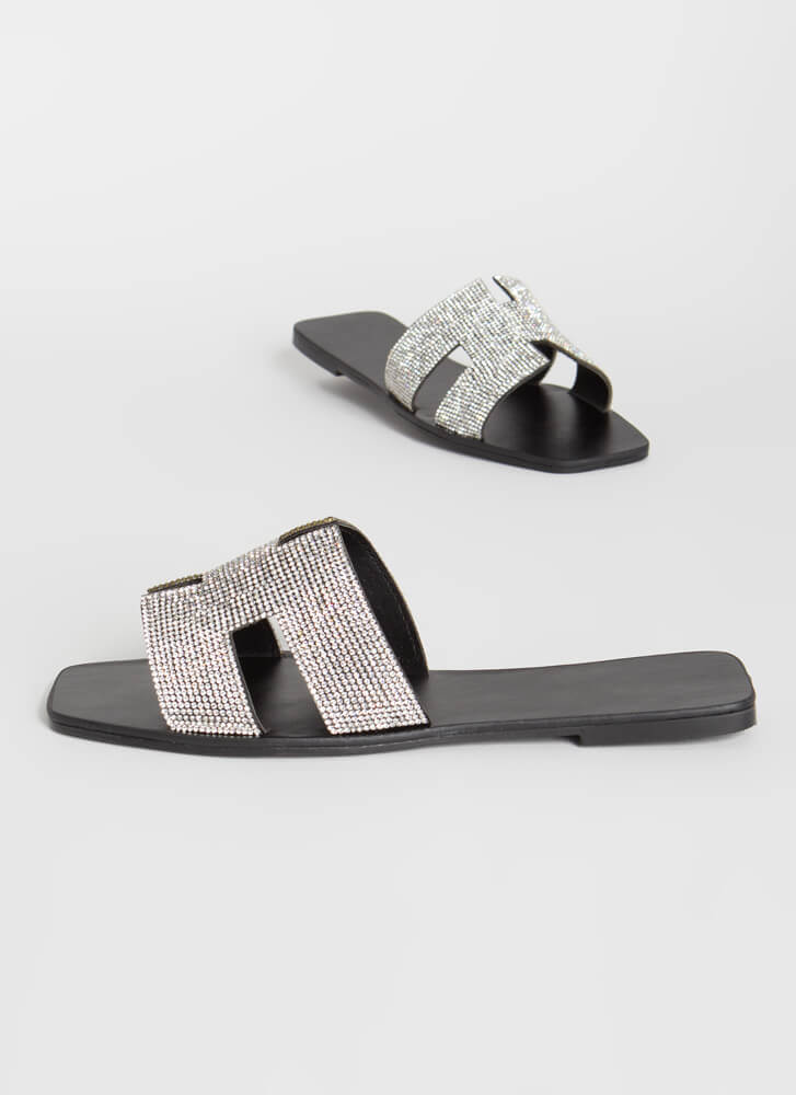 Glamour Jeweled Cut-Out Slide Sandals BLACK