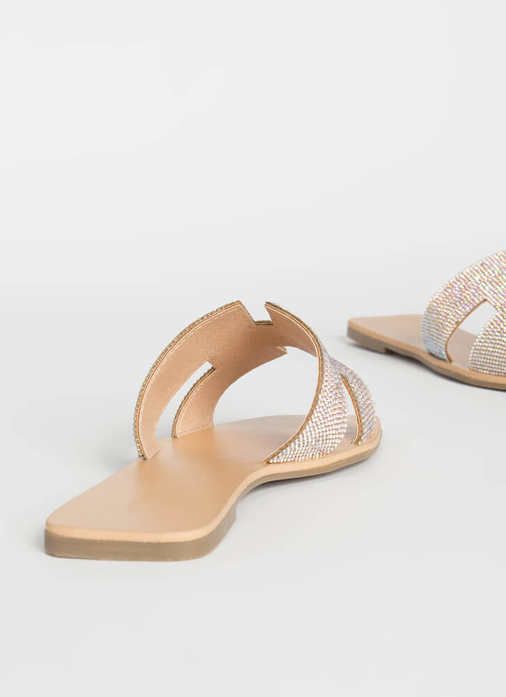 Glamour Jeweled Cut-Out Slide Sandals NUDE