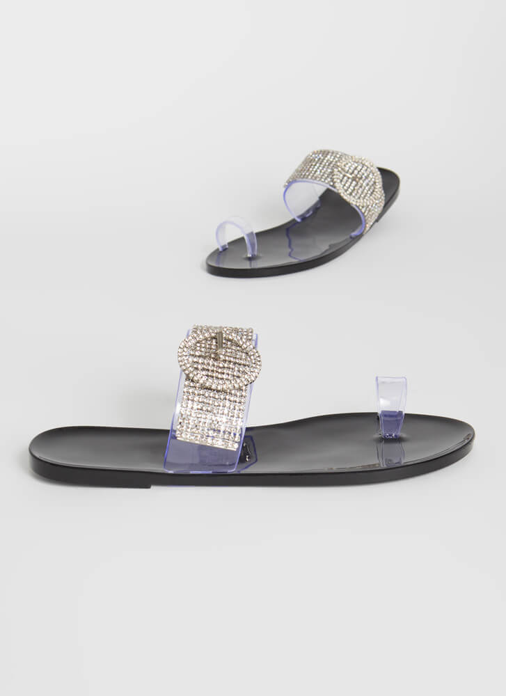 Buckled Beauty Jeweled Jelly Sandals BLACK