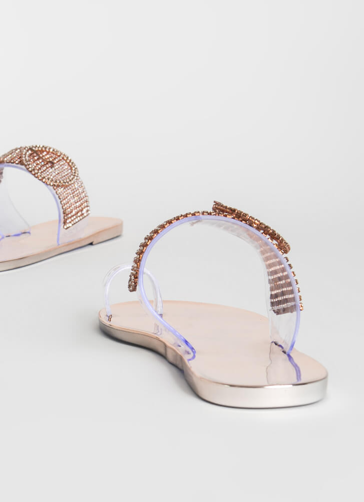 Buckled Beauty Jeweled Jelly Sandals ROSEGOLD