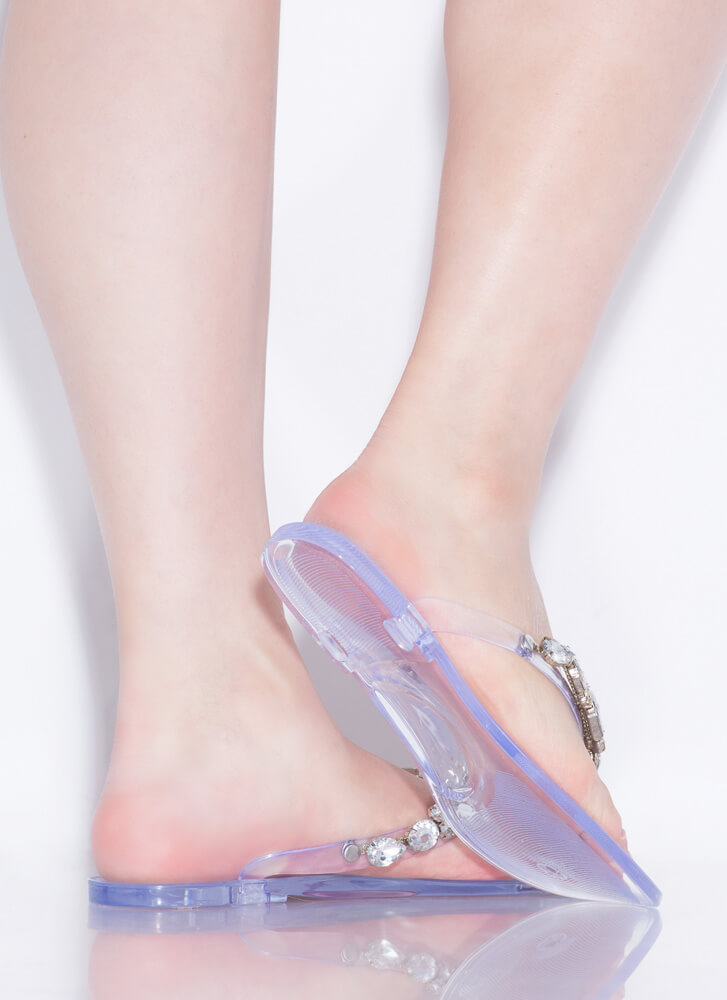 Glimmer Jeweled Jelly Thong Sandals CLEAR