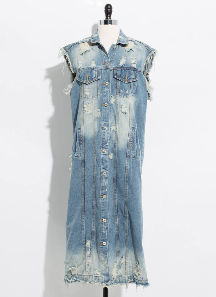 Rip Service Destroyed Denim Midi Dress MEDBLUE