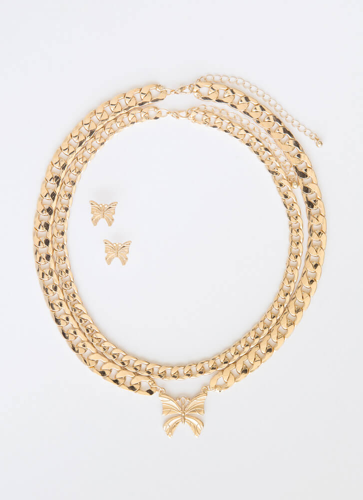 Chasing Butterflies 2-Necklace Set GOLD