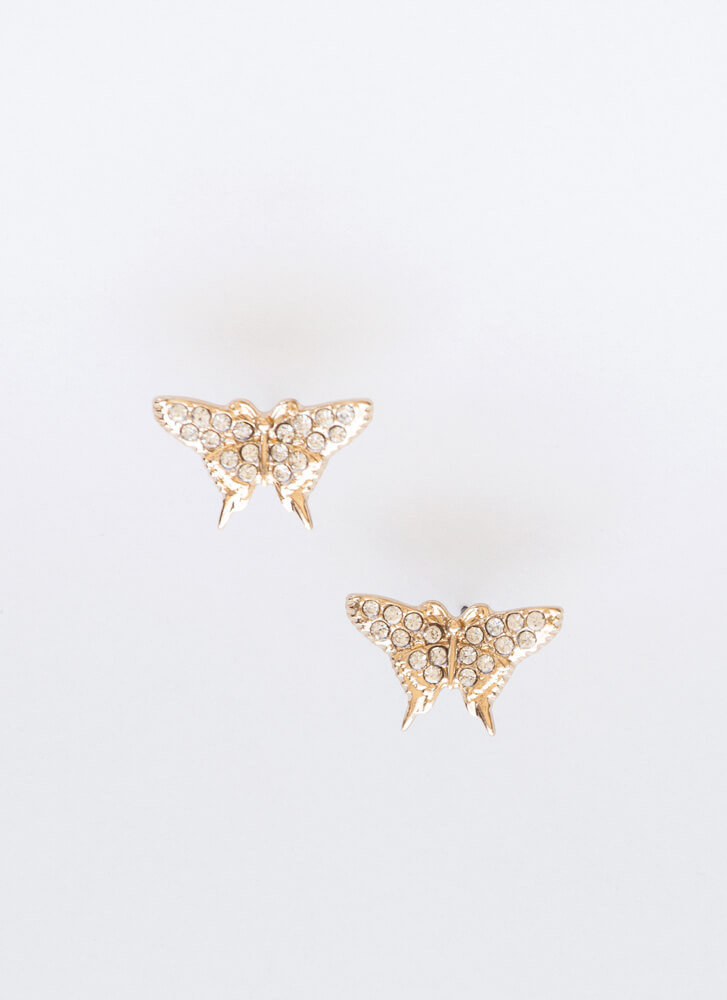 Butterfly Net Jeweled Necklace Set GOLDCLEAR