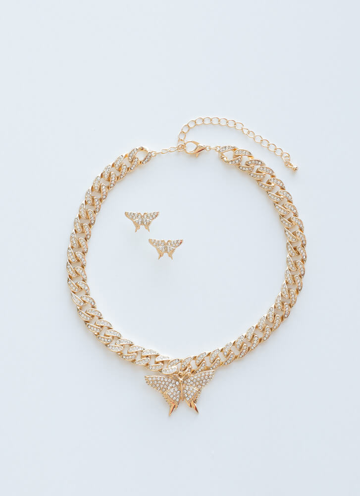 Got Butterflies Jeweled 2-Necklace Set GOLDCLEAR