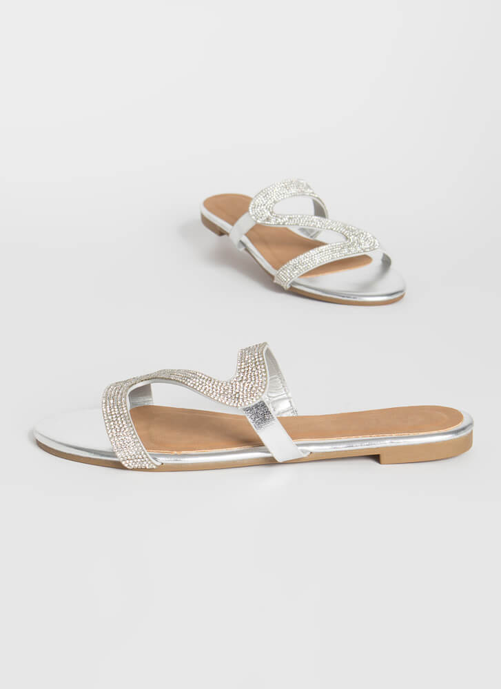 Curves Jeweled Metallic Slide Sandals SILVER