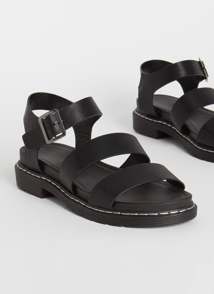 Ready For It Strappy Stitched Sandals BLACK