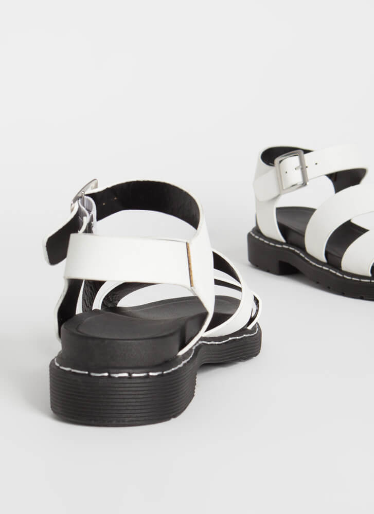Ready For It Strappy Stitched Sandals WHITE