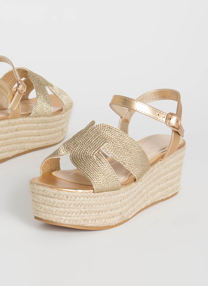 Take A Shine Platform Wedge Sandals GOLD
