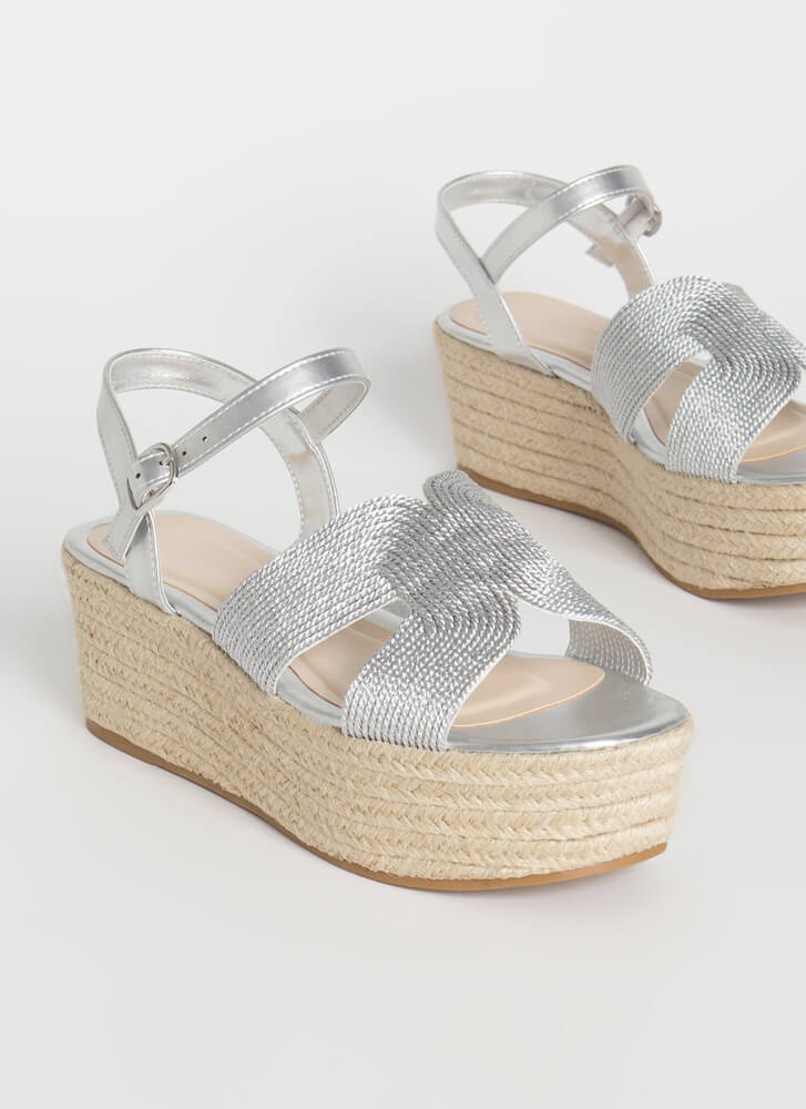 Take A Shine Platform Wedge Sandals SILVER