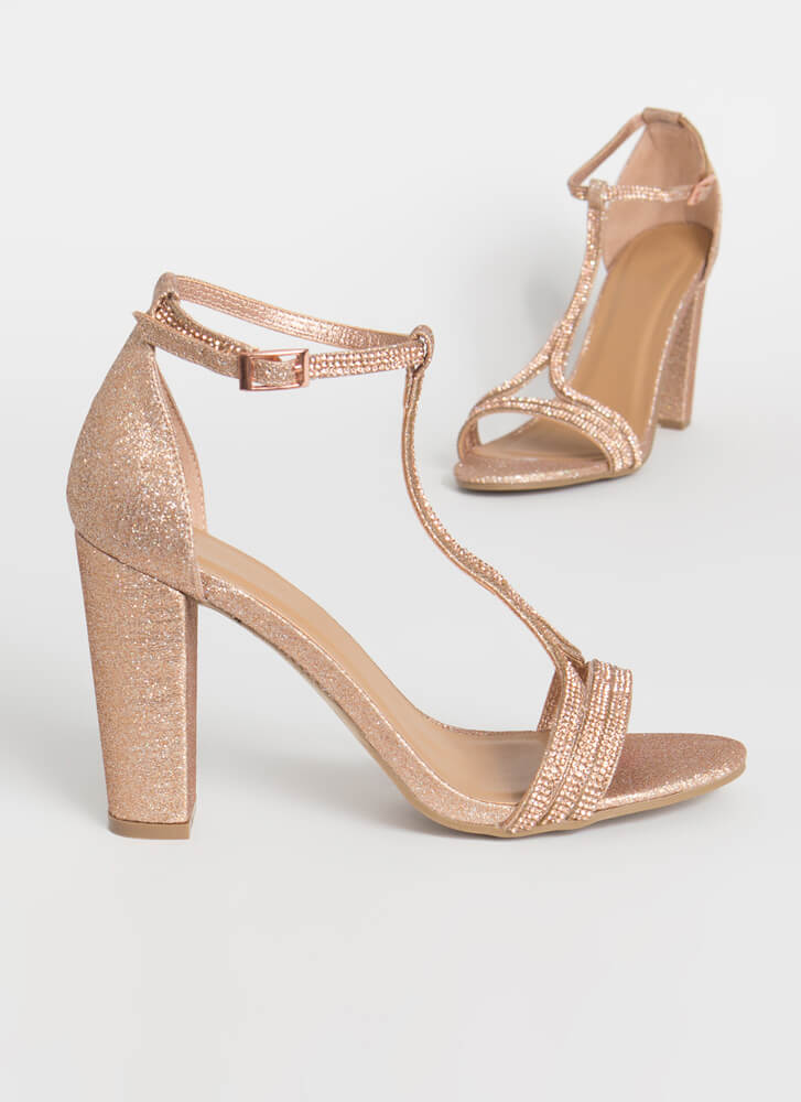 Fits Me To A T-Strap Glittery Heels ROSEGOLD