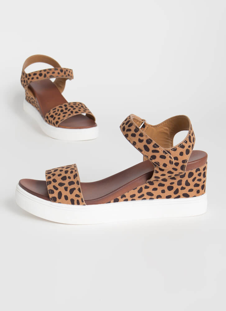 Sneak Away Cheetah Wedge Sandals CHEETAH