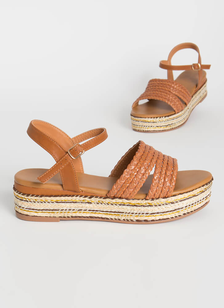 Vacation-Ready Woven Platform Sandals TAN
